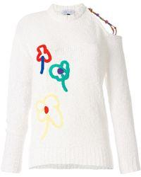 Mira Mikati Appliqué Open Shoulder Sweater - Multicolour