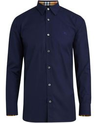 Burberry Check Cuff Stretch Cotton Poplin Shirt - Blu