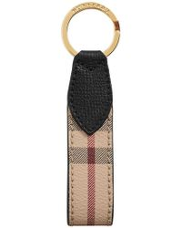 Burberry Porte-clés à carreaux Haymarket - Noir
