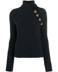 Balmain タートルネック リブニット セーター - ブラック