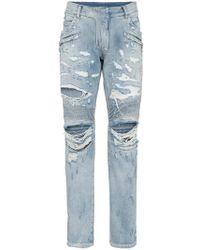 Balmain - Slim Ripped Biker Jeans - Lyst