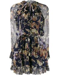 Zimmermann Floral-print Playsuit - Blue