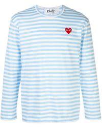 COMME DES GARÇONS PLAY ストライプ ロゴ Tシャツ - ブルー