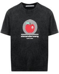 Alexander Wang Apple-print Crew-neck T-shirt - Black