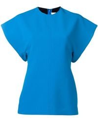 Victoria, Victoria Beckham - Turquoise Short Sleeve Top - Lyst