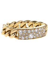 Dior 2000s Pre-owned 18kt Yellow Gold Diamond Flexible Gourmette Small Ring - Metallic