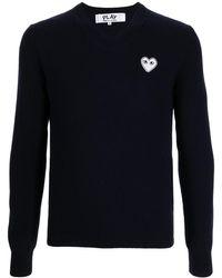 COMME DES GARÇONS PLAY Pull en laine à patch cœur - Bleu