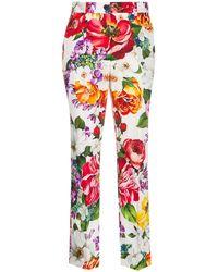 Dolce & Gabbana - Укороченные Брюки С Цветочным Принтом - Lyst