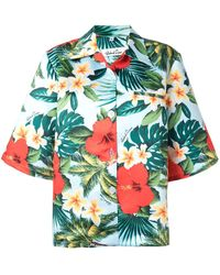 Richard Quinn Shirt Met Hawaiiaanse Print - Blauw