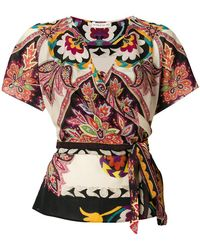 Etro - Printed Wrap Blouse - Lyst