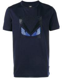 Fendi Crystal Embellished Monster T-shirt - Blue