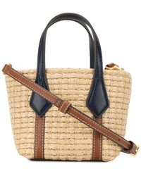 Tory Burch Perry Straw Mini Tote - Brown