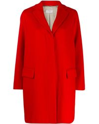 Alberto Biani Concealed Button Up Coat - Red