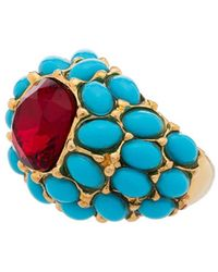 Kenneth Jay Lane Turquoise Cabochon Dome Cocktail Ring - Metallic