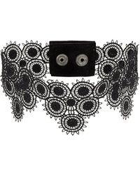 Manokhi Stud detail lace choker - Nero