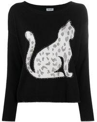 Liu Jo Leopard Print Cat Jumper - Black