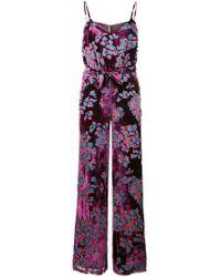 Saloni - Floral Print Jumpsuit - Lyst