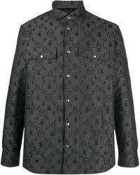 Philipp Plein Рубашка С Длинными Рукавами И Монограммой - Черный