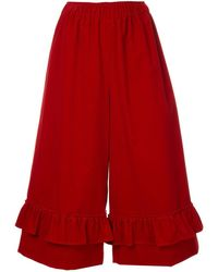 Shrimps Orla Frill Cropped Pants - Red