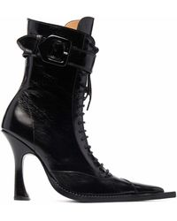 CHARLOTTE KNOWLES Serpent Lace-up Boots - Black