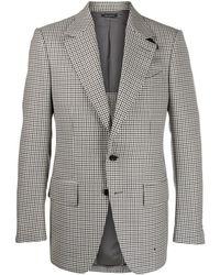 Tom Ford Houndstooth Pattern Blazer - Gray