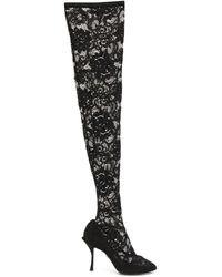 Dolce & Gabbana Кружевные Ботфорты - Черный