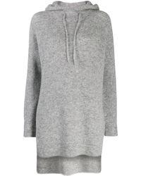 Ganni Drawstring Knitted Hoodie - Gray