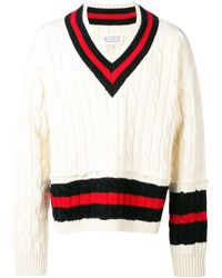 Maison Margiela Striped Cable-knit Wool Sweater