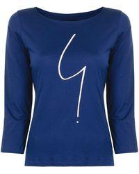 agnès b. Logo Print Long-sleeve T-shirt - Blue