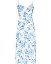 Reformation Midi-jurk Met Bloemenprint - Blauw