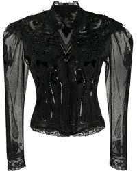 Etro Sheer Lace Cropped Jacket - Black
