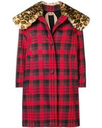 N°21 - Faux Fur-collar Checked Coat - Lyst