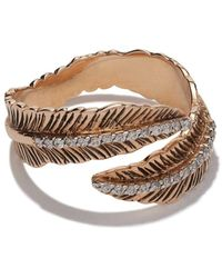 Kismet by Milka 14kt Rose Gold Double Row Feather Diamond Pinky Ring - Metallic