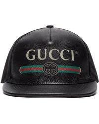 bb39e776ecb85 Casquette en résille et cuir à imprimé étoiles Gucci pour homme - Lyst