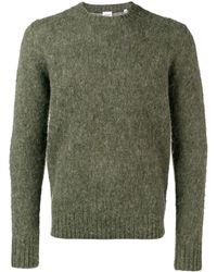 Aspesi Crew-neck Sweater In Brushed Shetland Wool - Green