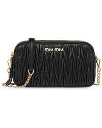 Miu Miu Matelassé Leather Mini-bag - Black