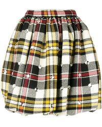 Miu Miu - Checked Print Skirt - Lyst