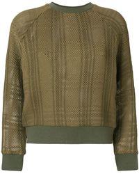 Mr & Mrs Italy Patched tartan waffle knit sweatshirt - Vert