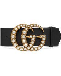 Gucci Pearl Double G Wide Belt - Black