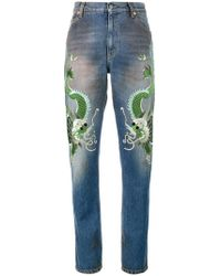 Gucci - Jeans Con Draghi Ricamati - Lyst