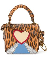 Sophie Hulme Leopard heart mini bag - Marrone