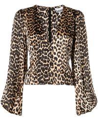 Ganni Bluse mit Leoparden-Print - Mettallic