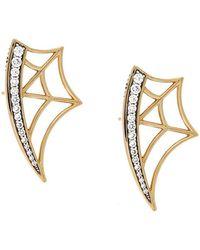 Eshvi - Diamond Web Earrings - Lyst
