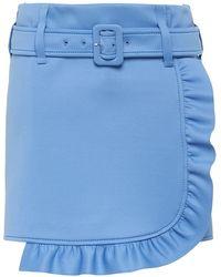 Prada Belted Ruffle Mini Skirt - Blue