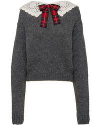 Miu Miu Crochet Tartan Collar Jumper - Grey