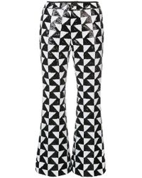 Cynthia Rowley - Illusion Geometric Sequin Trousers - Lyst