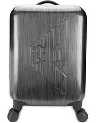 Emporio Armani Valise à roulette à logo - Gris