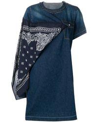 Sacai - Scarf Detail Denim Dress - Lyst