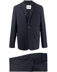 Jil Sander ノッチドラペル シングルスーツ - ブルー