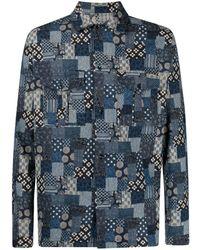 Glanshirt Patchwork-print Cotton Shirt - Blue
